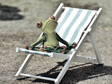 A frog statue on a miniature deck chair