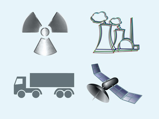 Radioactivity symbol, Sketch of a nuclear power plant, Truck, Satellite