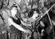 Two miners of Wismut work underground