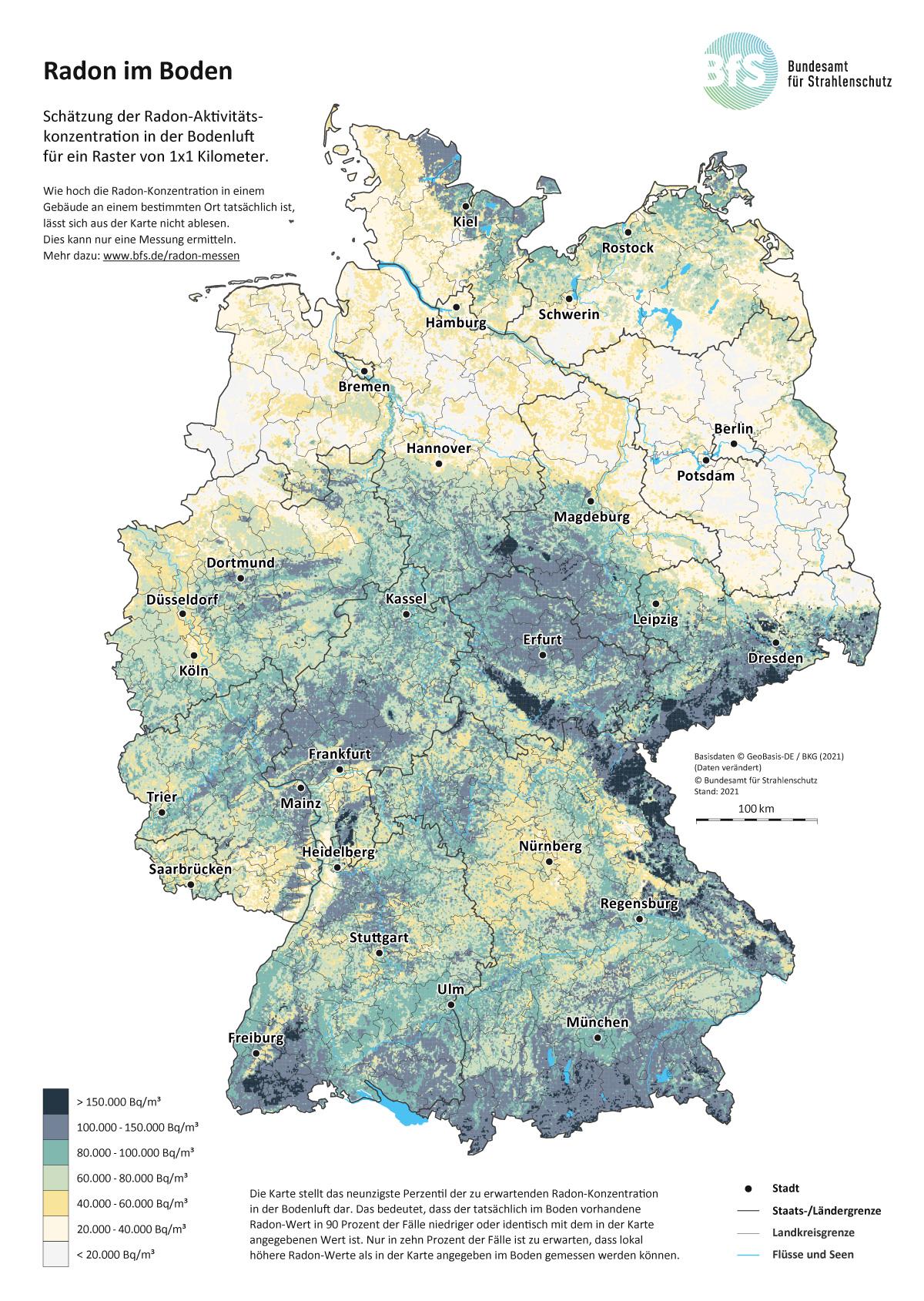 Radon Karte Unterfranken.Bfs Wie Ist Radon In Deutschland Geographisch Verteilt