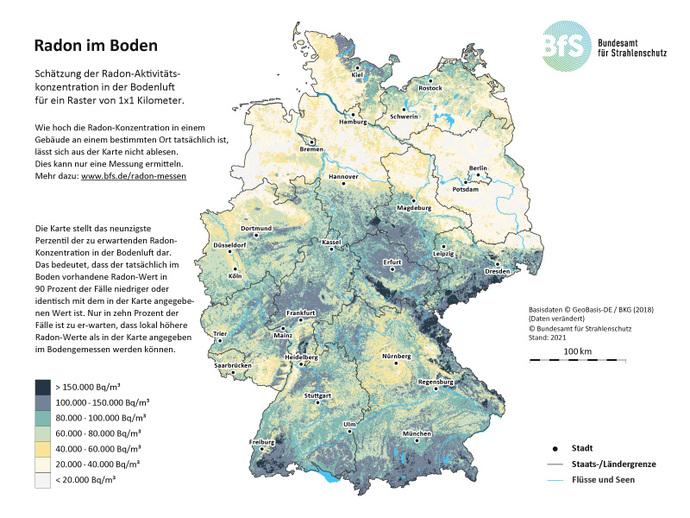 Radon Karte Deutschland.Bfs Wie Ist Radon In Deutschland Geographisch Verteilt Radon In