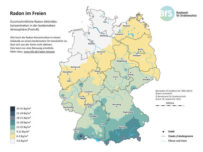 radonbelastung deutschland karte BfS   Wie ist Radon in Deutschland geographisch verteilt?   Radon